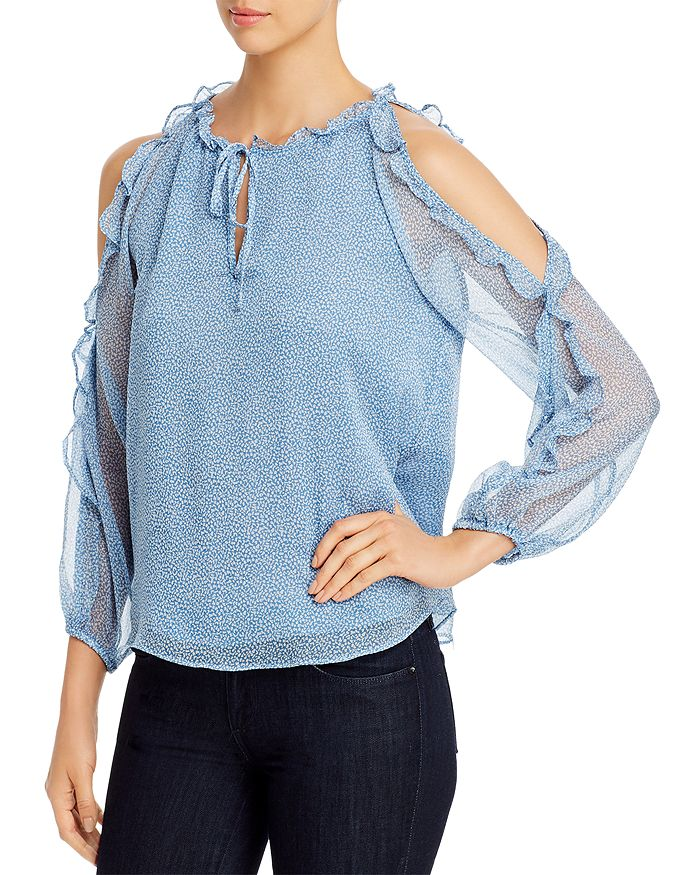 1.STATE - Mosaic Ditsy Ruffled Cold-Shoulder Top
