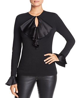 Elie Tahari - Tulay Satin-Ruffle Knit Top