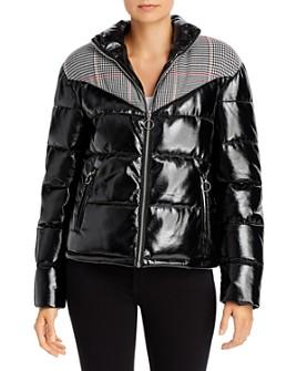 Glamorous - Plaid-Panel Faux Patent Leather Puffer Jacket