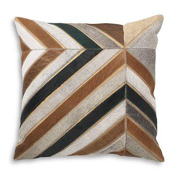 "Mitchell Gold Bob Williams - Chevron-Stripe Calf Hair Pillow, 22 x 22"""