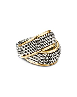 David Yurman - Sterling Silver & 18K Yellow Gold Origami Crossover Ring