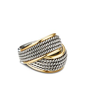 David Yurman - Sterling Silver & 18K Yellow Gold Origami Crossover Ring