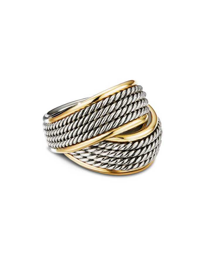David Yurman Sterling Silver & 18K Yellow Gold Origami Crossover Ring  | Bloomingdale's