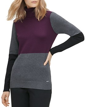 Calvin Klein - Color-Block Turtleneck Sweater