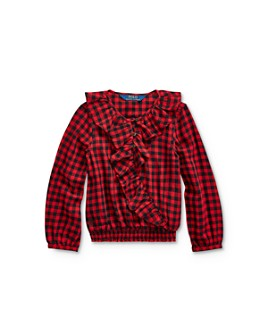 Ralph Lauren - Girls' Buffalo Check Ruffled Top - Little Kid