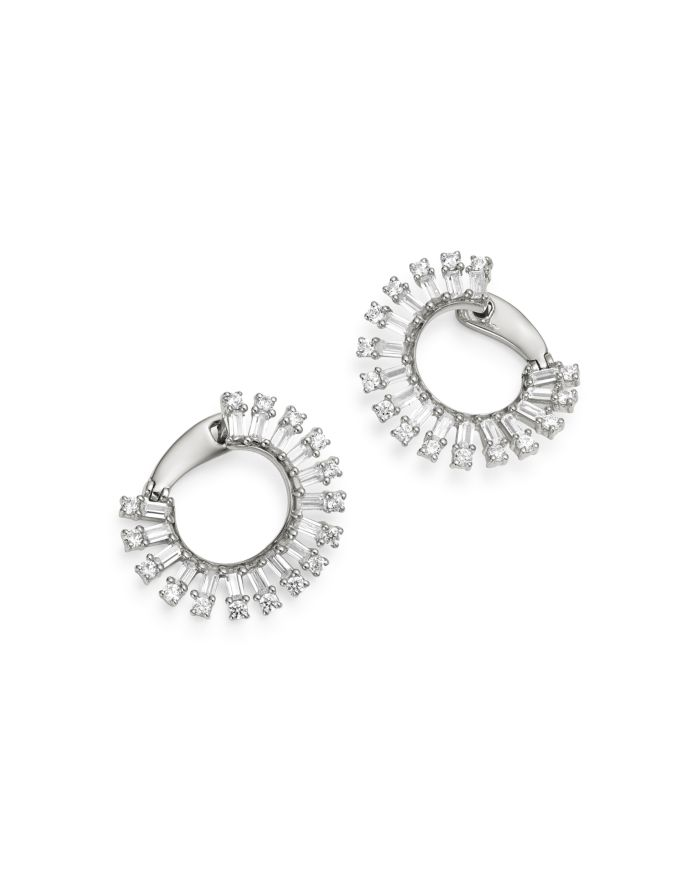 Bloomingdale's Round & Baguette Diamond Front-to-Back Earrings in 14K White Gold, 1.45 ct. t.w. - 100% Exclusive  | Bloomingdale's