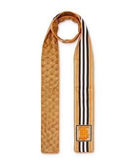 Burberry - Icon-Stripe & Scale-Print Silk Skinny Scarf