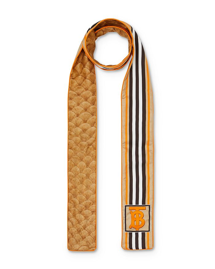 Burberry - Icon-Stripe & Scale-Print Silk Skinny Scarf