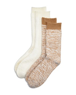 HUE - Fuzzy Crew Boot Socks, Set of 2