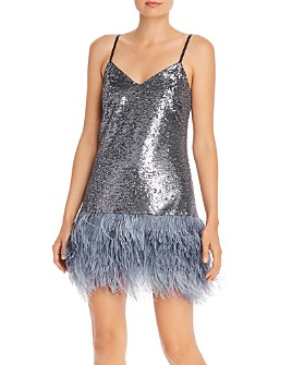 Cinq à Sept - Athena Sequin and Feather Mini Dress