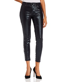 FRAME - Le High Coated Skinny Jeans in Noir Croc
