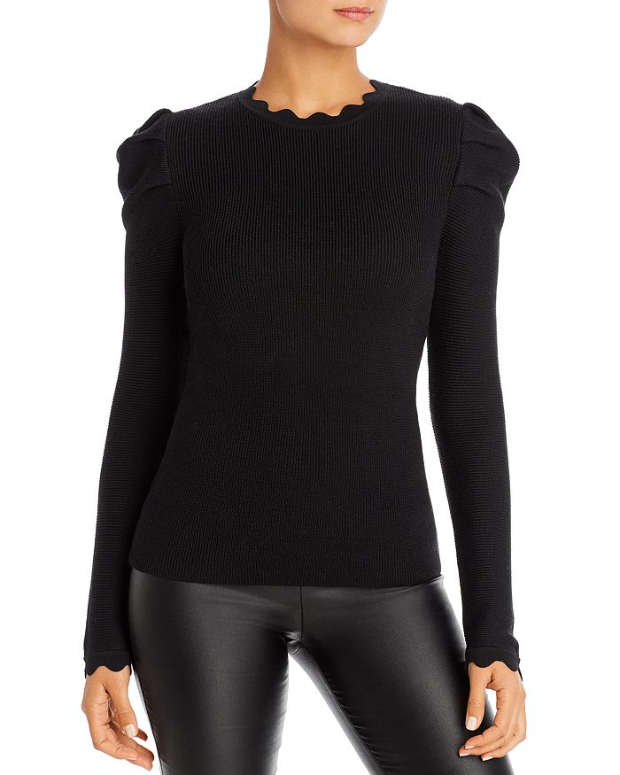 Elie Tahari Sweaters CHIARA SCALLOPED PUFF-SLEEVE SWEATER