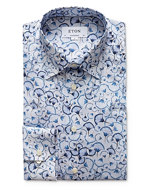 Eton Contemporary Fit Papyrus Printed Twill Dress Shirt