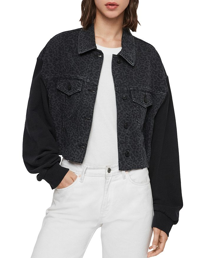 ALLSAINTS - Anders Leo Mixed Media Cropped Jacket