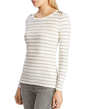Ralph Lauren - Long-Sleeve Striped Lace-Up Tee