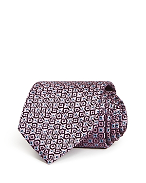 Ermenegildo Zegna Geometric Floral Check Silk Classic Tie-Men