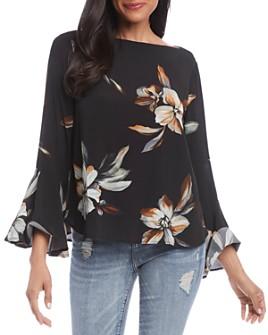 Karen Kane - Floral-Print Bell-Sleeve Top