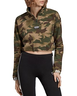 adidas Originals - Half-Zip Cropped Camo Sweatshirt