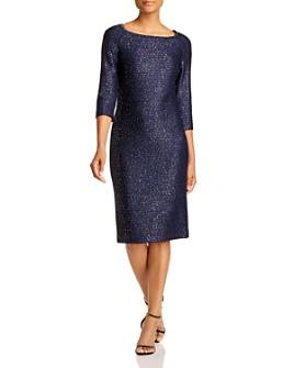 St. John - Embellished Boat-Neck Midi Dress