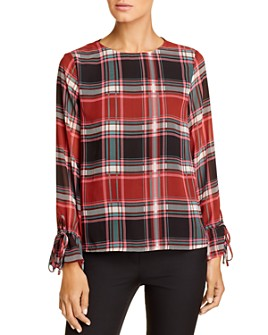 Vero Moda - Nora Plaid Bell-Sleeve Top