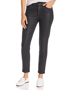 7 For All Mankind - Coated Skinny Ankle Jeans in Black