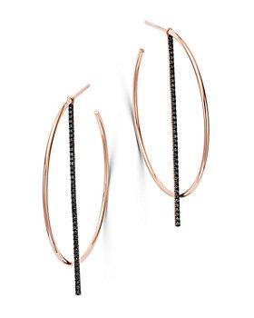 OWN YOUR STORY - 14K Rose Gold Linear Black Diamond Offset Hoop Earrings