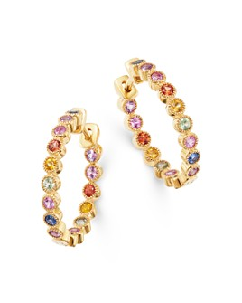 Bloomingdale's - Rainbow Sapphire Inside Out Hoop Earrings in 14K Yellow Gold - 100% Exclusive