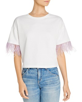 Lucy Paris - Feather-Trim Tee