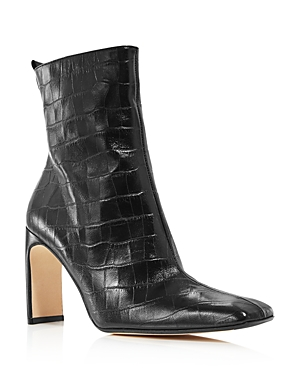 Miista Boots WOMEN'S MARCELLE CROC-EMBOSSED HIGH-HEEL BOOTS