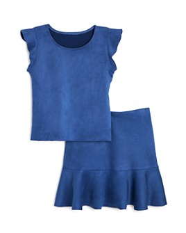 AQUA - Girls' Faux Suede Top & Flounced Skirt, Big Kid - 100% Exclusive