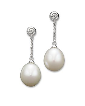 Bloomingdale's - Cultured Freshwater Pearl and Diamond Drop Earrings in 14K White Gold, 9mm- 100% Exclusive