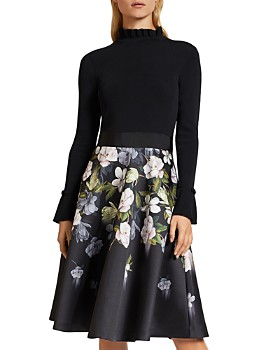 Ted Baker - Nerida Floral-Print Fit and Flare Contrast Dress