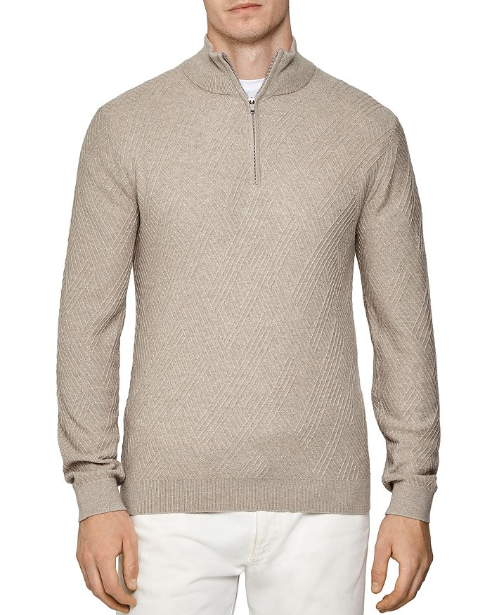 REISS - Noel Linear Stitch Partial Zip Pullover Sweater
