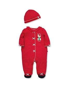 Little Me - Girls' Holiday Bear Footie & Hat Set - Baby