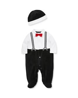 Little Me - Boys' Suspender Footie & Hat Set - Baby