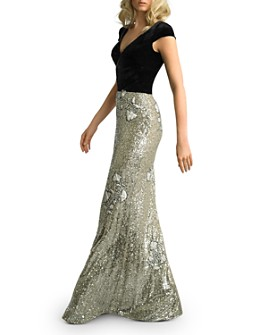 Basix - Velvet & Floral Sequin Gown