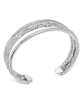 David Yurman - 18K White Gold Stax Three-Row Chain Link Bracelet with Diamonds