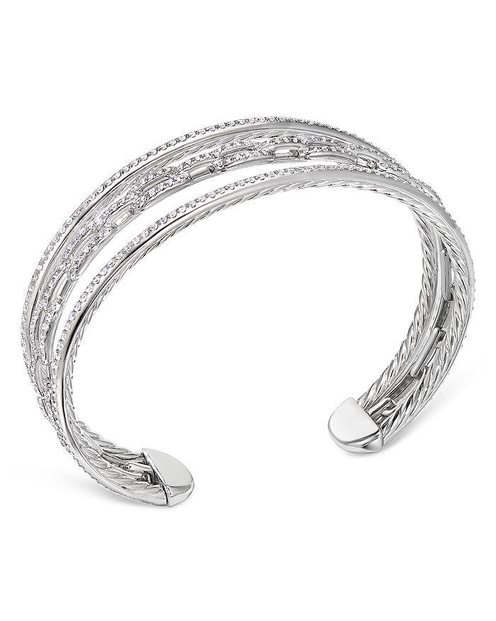 David Yurman - 18K White Gold Stax Three-Row Chain Link Bracelet with Diamonds