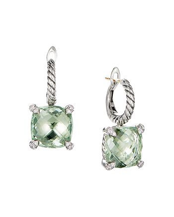 David Yurman - Sterling Silver Châtelaine®  Drop Earrings with Prasiolite & Diamonds