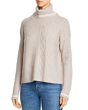 Design History Ribbed & Cable-Knit Turtleneck Sweater