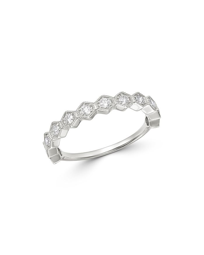 Bloomingdale's - Diamond Milgrain Stacking Band in 14K White Gold, 0.35 ct. t.w. - 100% Exclusive