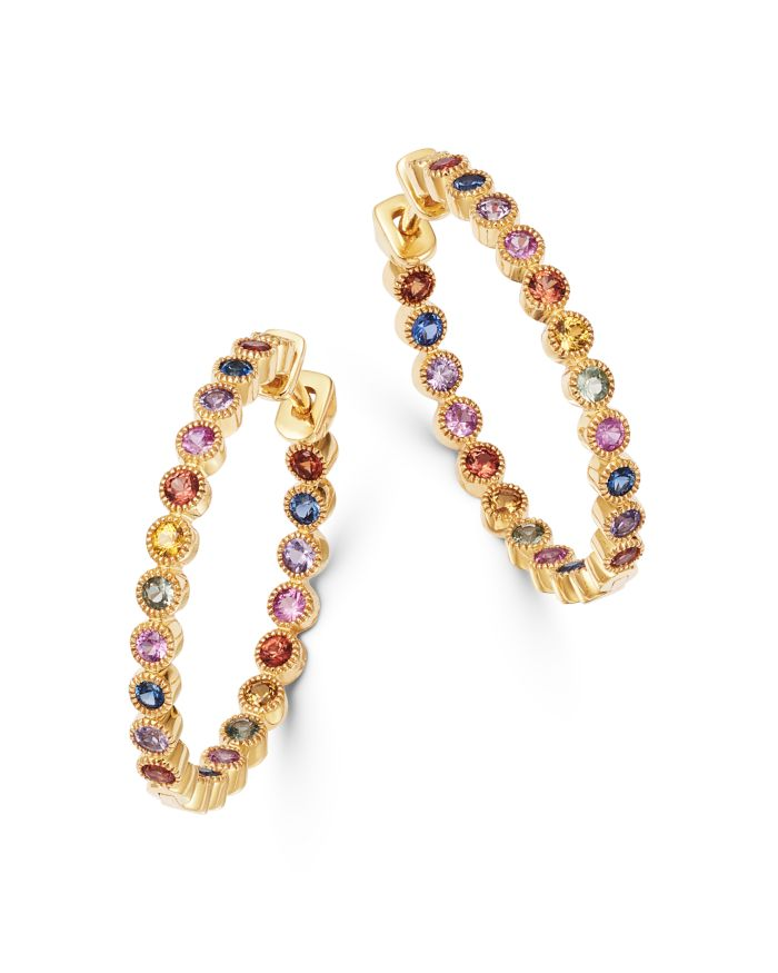 Bloomingdale's Rainbow Sapphire Inside Out Hoop Earrings in 14K Yellow Gold - 100% Exclusive    Bloomingdale's