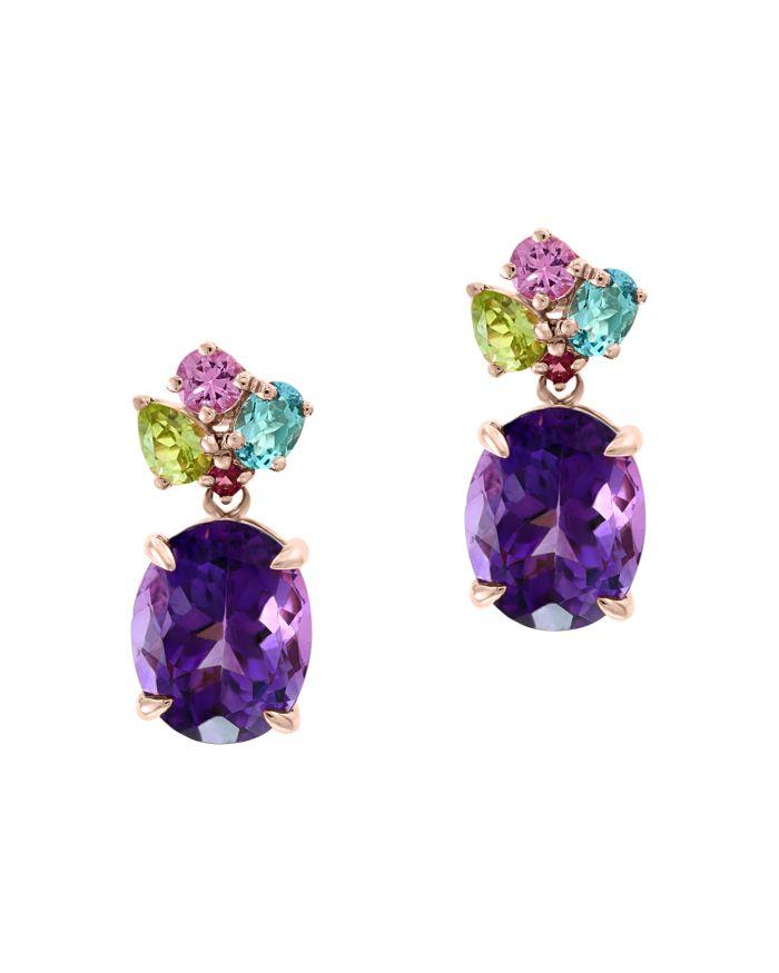 Bloomingdale's Multi-Gemstone Drop Earrings in 14K Rose Gold - 100% Exclusive    Bloomingdale's