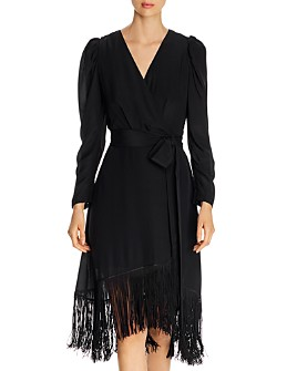 Kobi Halperin - Phoebe Fringed Faux Wrap Silk Dress