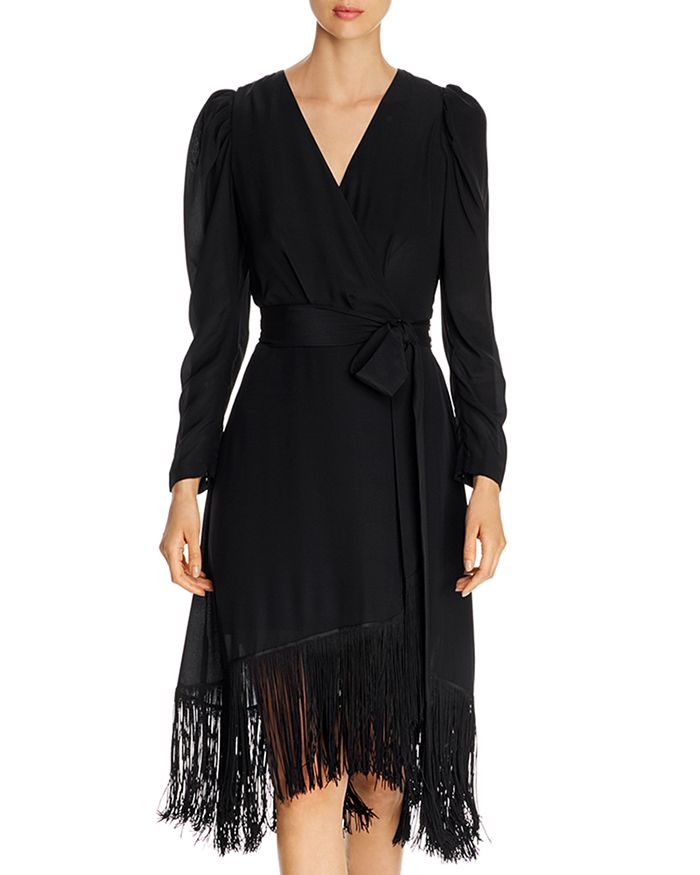 Kobi Halperin - Phoebe Fringed Faux Wrap Silk Dress