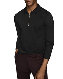 REISS - Jason Long-Sleeve Half-Zip Polo Shirt