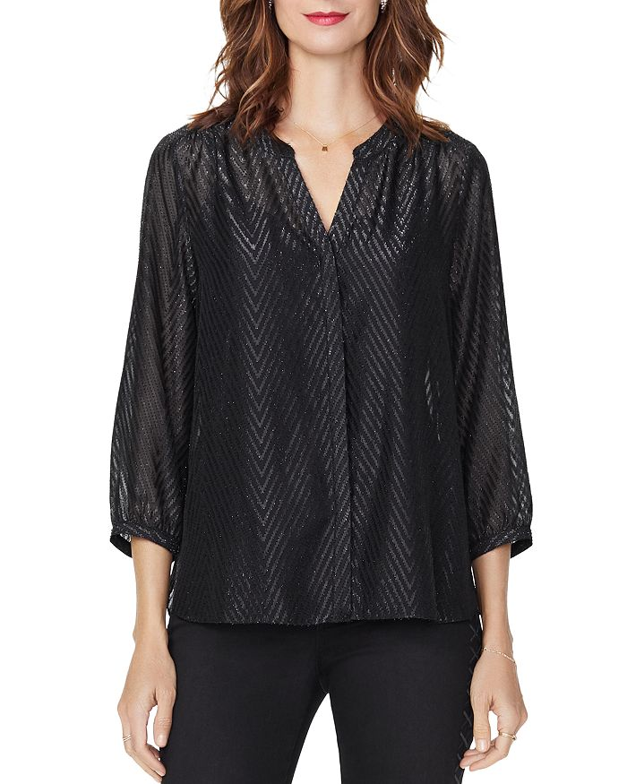 Nydj METALLIC CHEVRON BLOUSE