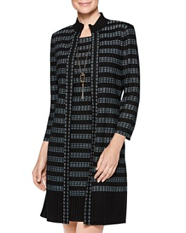 Misook - Long Striped Knit Jacket