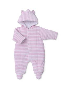 Kissy Kissy - Girls' Striped & Hooded Velour Footie - Baby