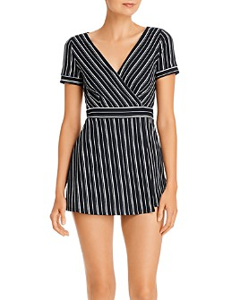 AQUA - Striped Skort Romper - 100% Exclusive